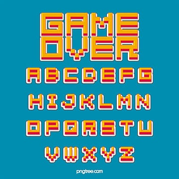 pixel alphabet of modern fashion stereo cartoon games Fonts