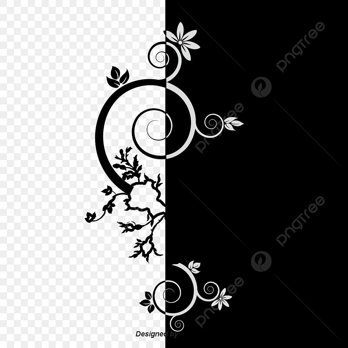 Belle Fleur De Matériau Décoratif De Vecteur En Noir Et
