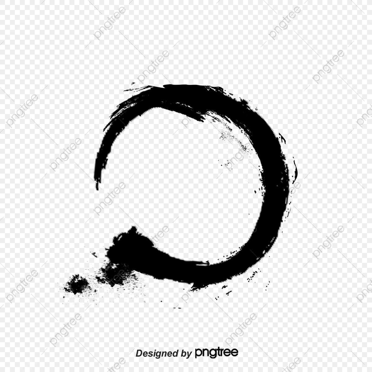 Black Ink Round, Ink Marks, Brush, Chinese Style PNG