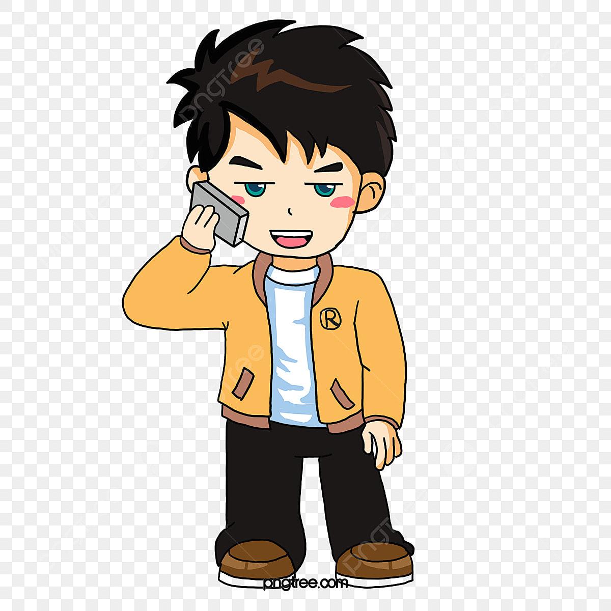 無料ダウンロードのための男の子は電話をして キャラクター イラスト