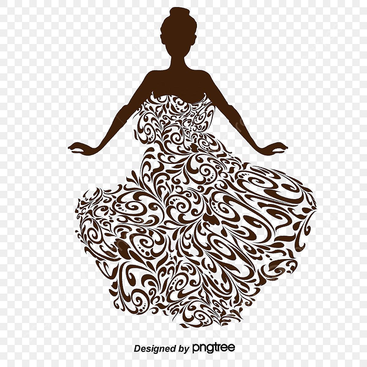 Lukisan Tangan Kartun Estetika Perkahwinan Pakaian Pengantin