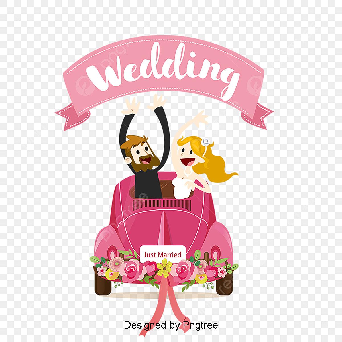 Kartun Kereta Perkahwinan Latar Belakang Bahan Vektor
