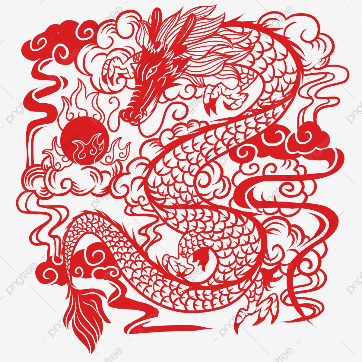 chinese paper cut dragon  chinese vector  dragon vector