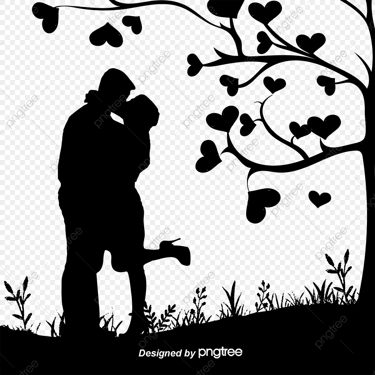Couple silhouette black and white sketch love png and