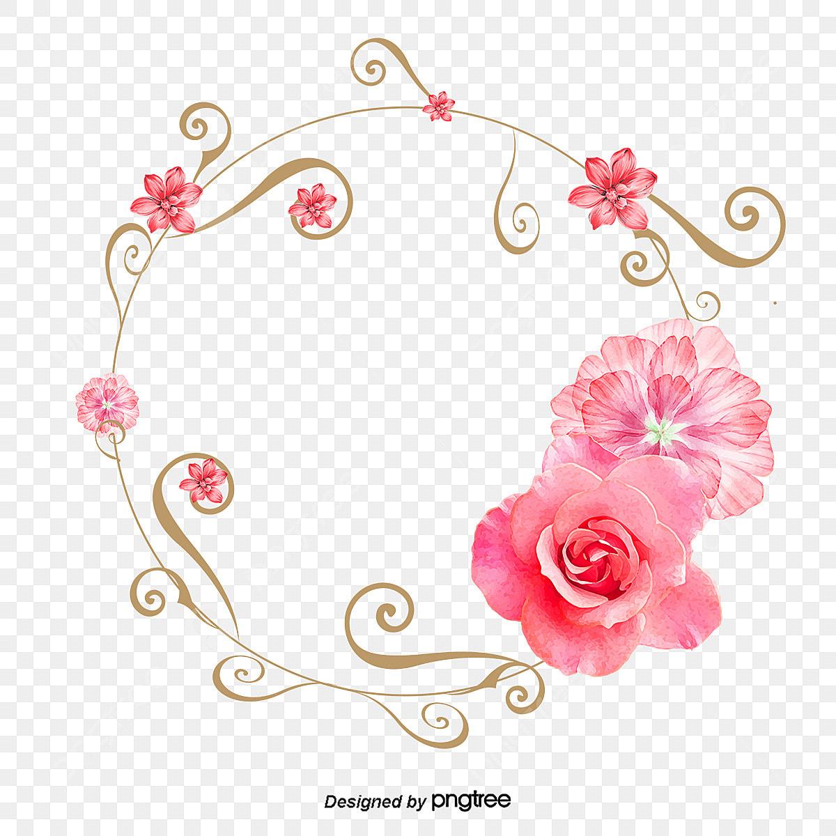 Flowers Frame Ring Pattern Light Pink Decorative Pattern Frame