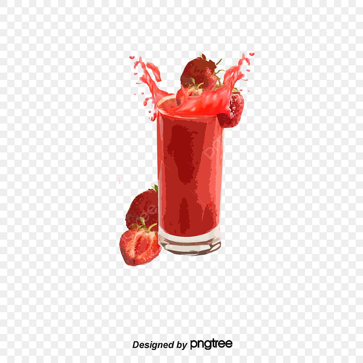 Ais Krim Corak Makanan Vektor Ilustrasi Jus Strawberi Ais