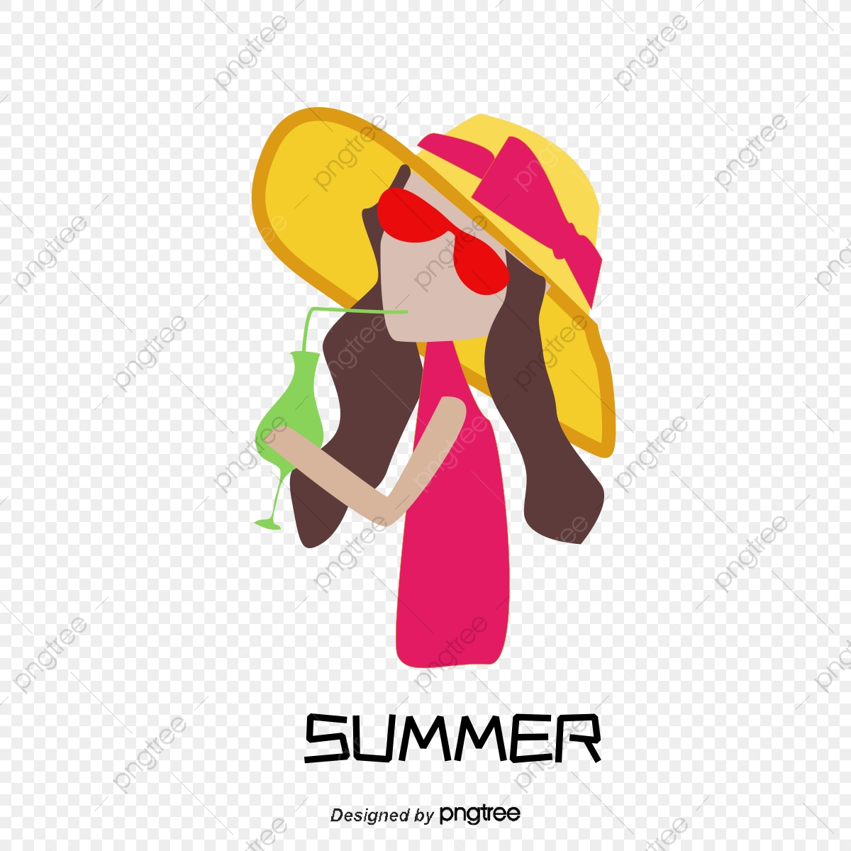 Girl Wearing A Straw Hat, Vector Character, Cartoon