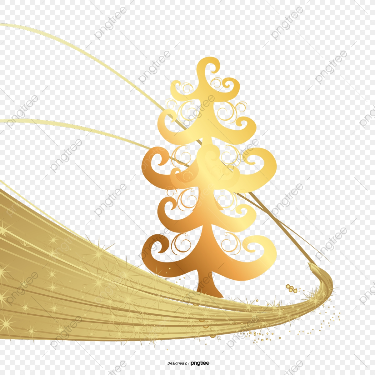 Golden Christmas Tree Christmas Vector Tree Vector Golden Png And