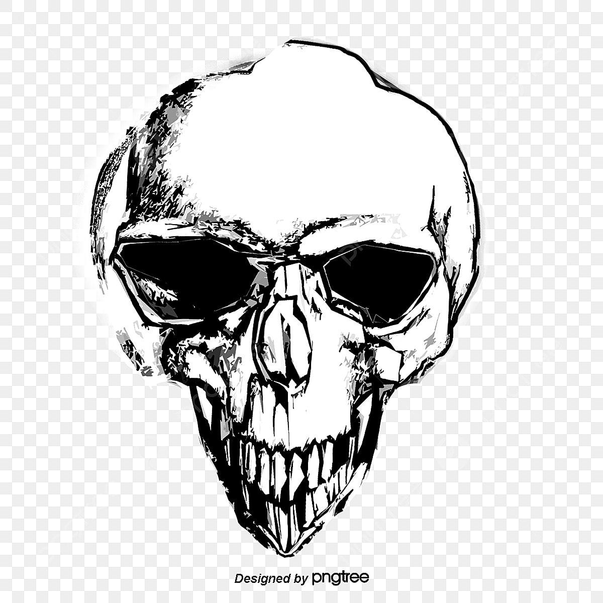 Desenho De Caveira Pintados à Mão Skull O Terror Png E