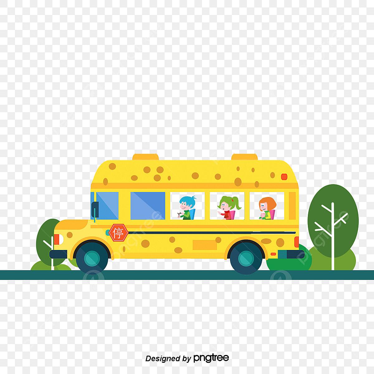 Material De Vetor De Desenhos Animados Para Criancas Em Onibus