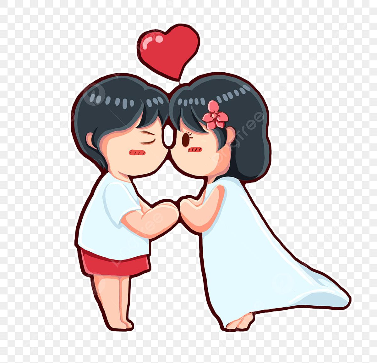 Gambar Pencinta Mencium Kekasih Kartun Yang Dilukis Tangan Kekasih Sayang Png Dan Psd Untuk Muat Turun Percuma