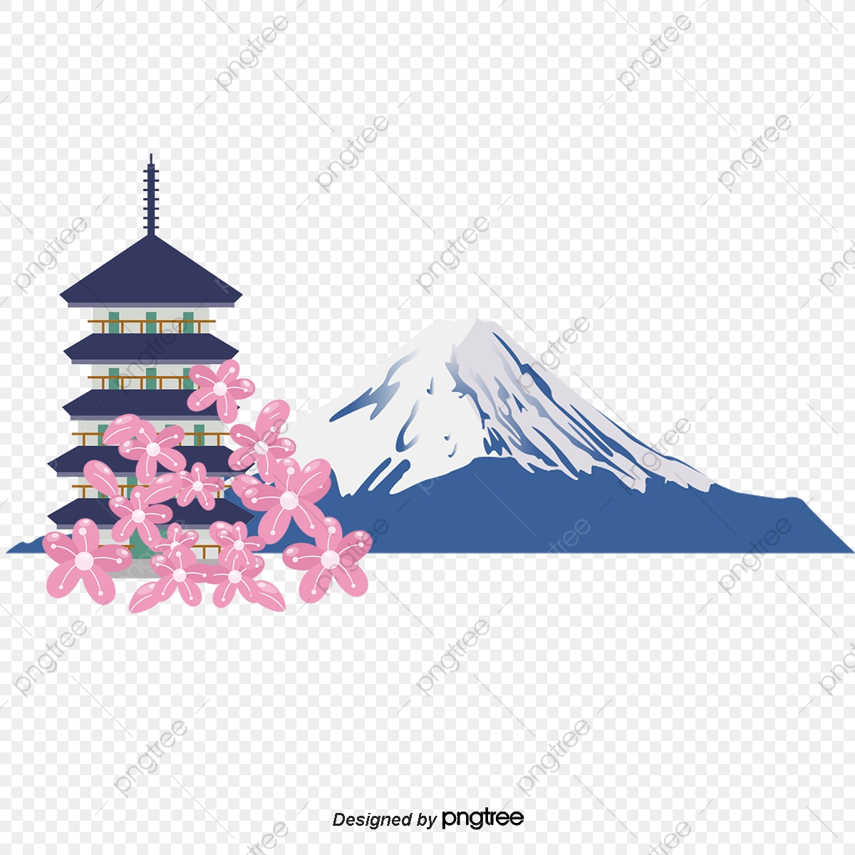 Mount Fuji And Japanese Tower Japanese Pagoda Mount Fuji Vector Png Transparent Clipart Image And Psd File For Free Download