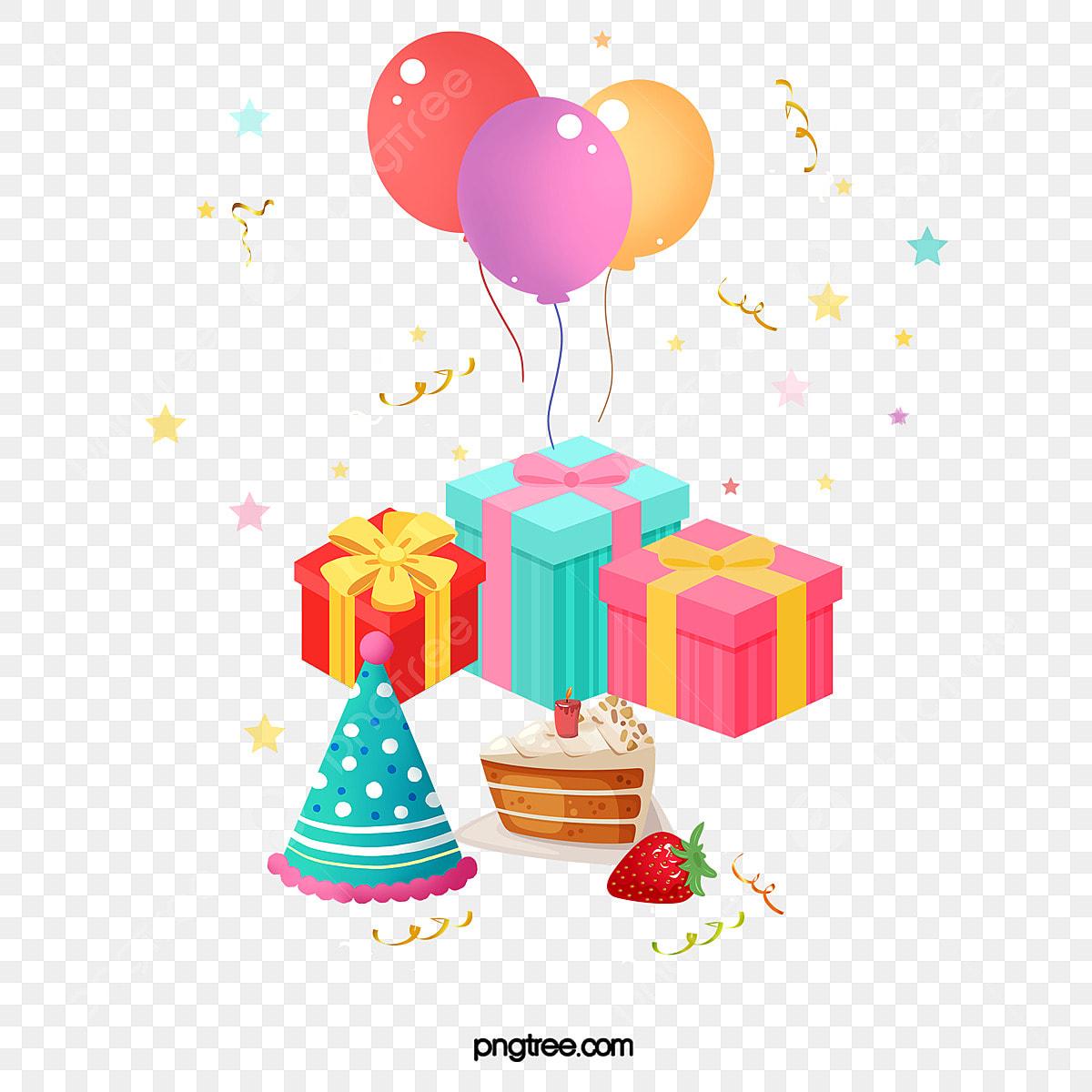 Vector Cumpleaños Regalos Y Globos Cumpleaños Regalo Globo Png Y