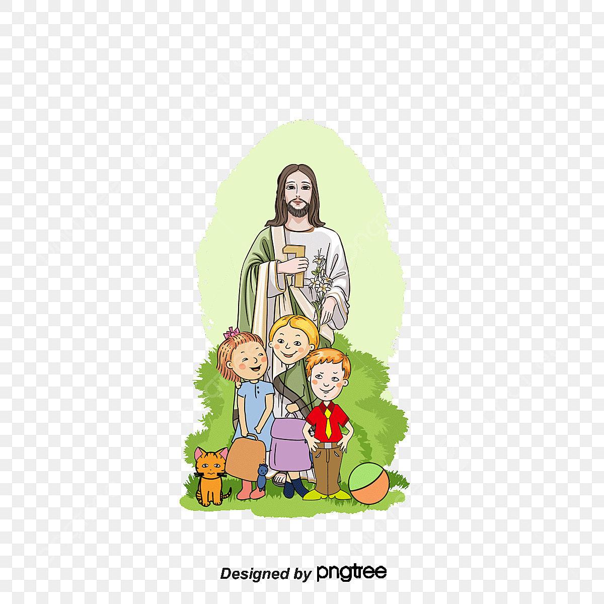 Vector Jesús Y Los Niños Niño Jesus Los Niños De Dibujos