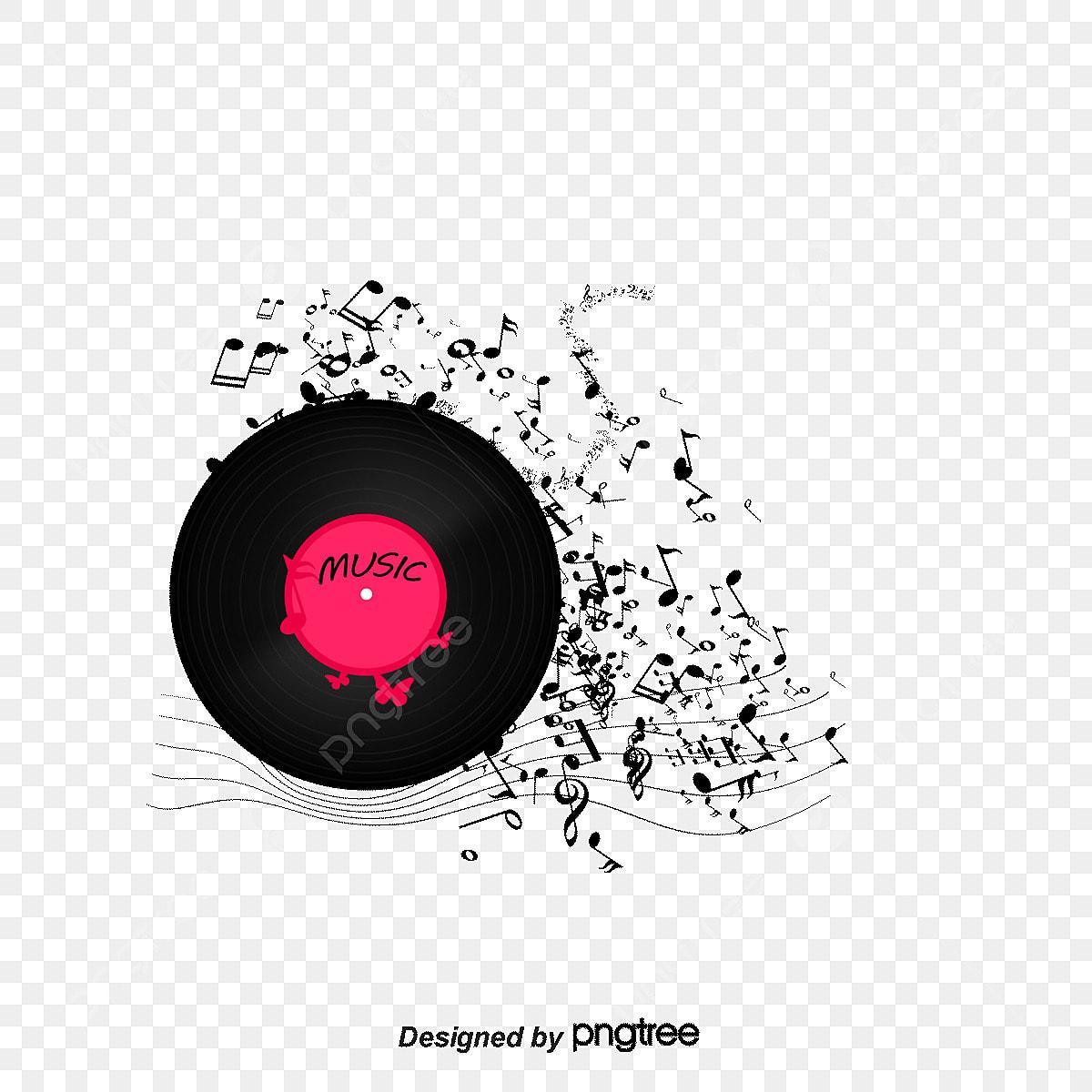 le vecteur de la musique de fond d u00e9coratif  notes  le motif d u00e9coratif de la musique  disque png
