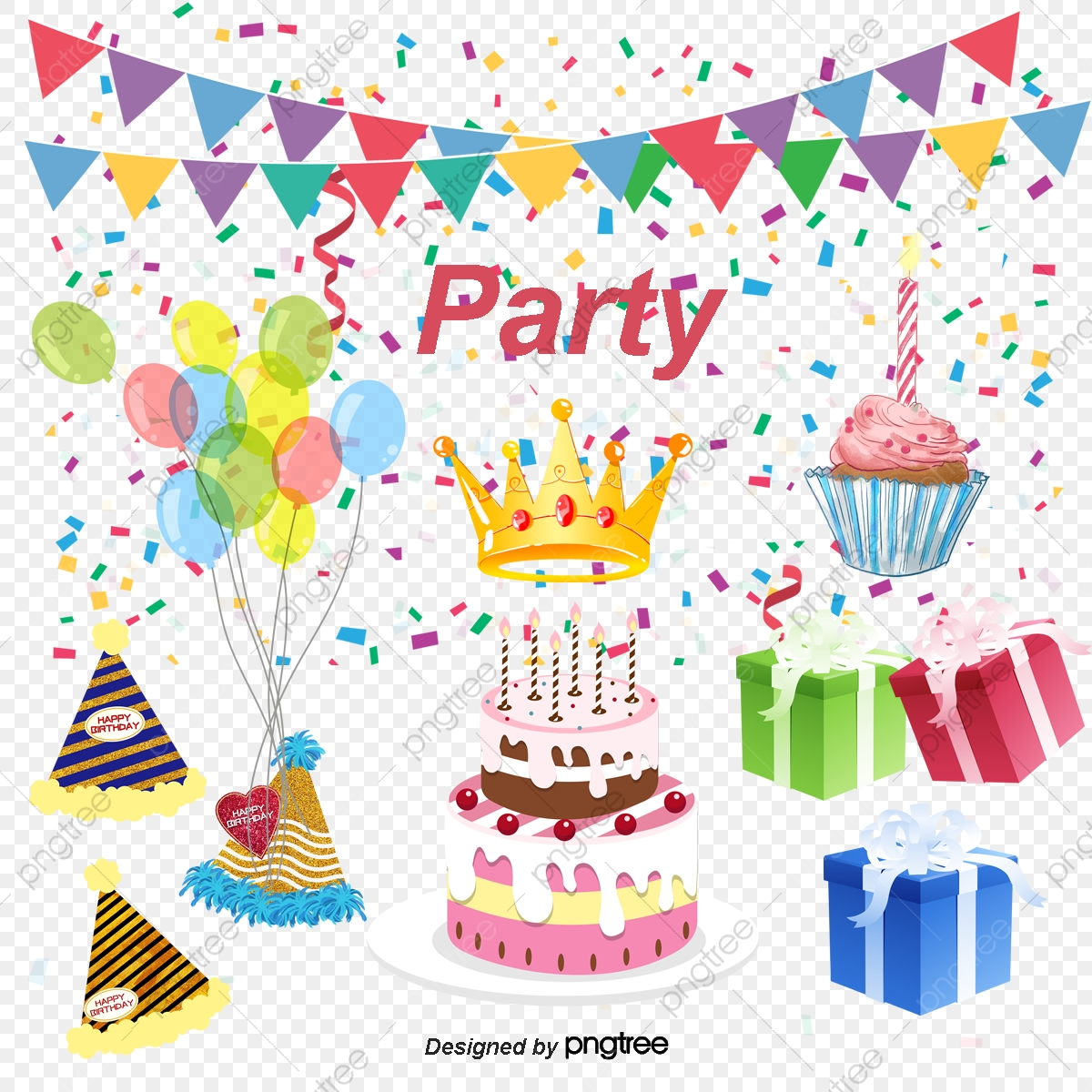 Superb Vector Painted Balloons Birthday Cake Birthday Clipart Cake Funny Birthday Cards Online Bapapcheapnameinfo