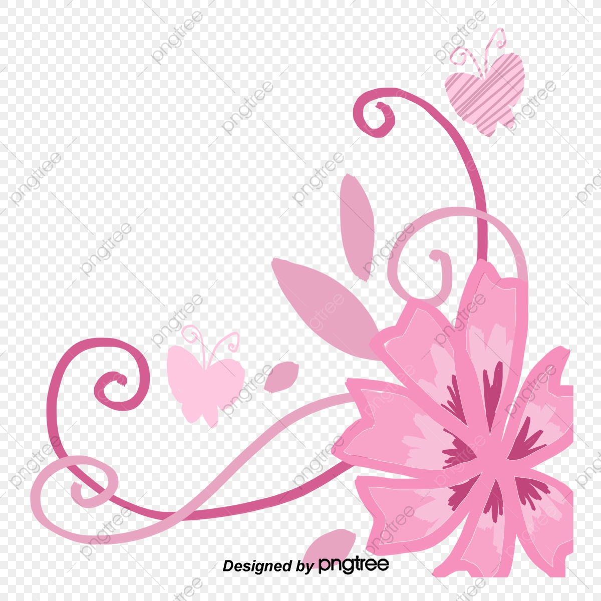 Vector Painted Pink Flower Vine Butterfly, Flower Vector