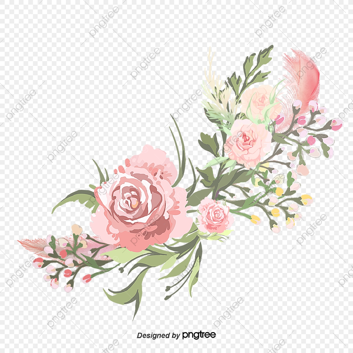 Watercolor Pink Flowers Sen Department Watercolor Clipart Pink Flowers Leaves Pink Png Transparent Clipart Image And Psd File For Free Download