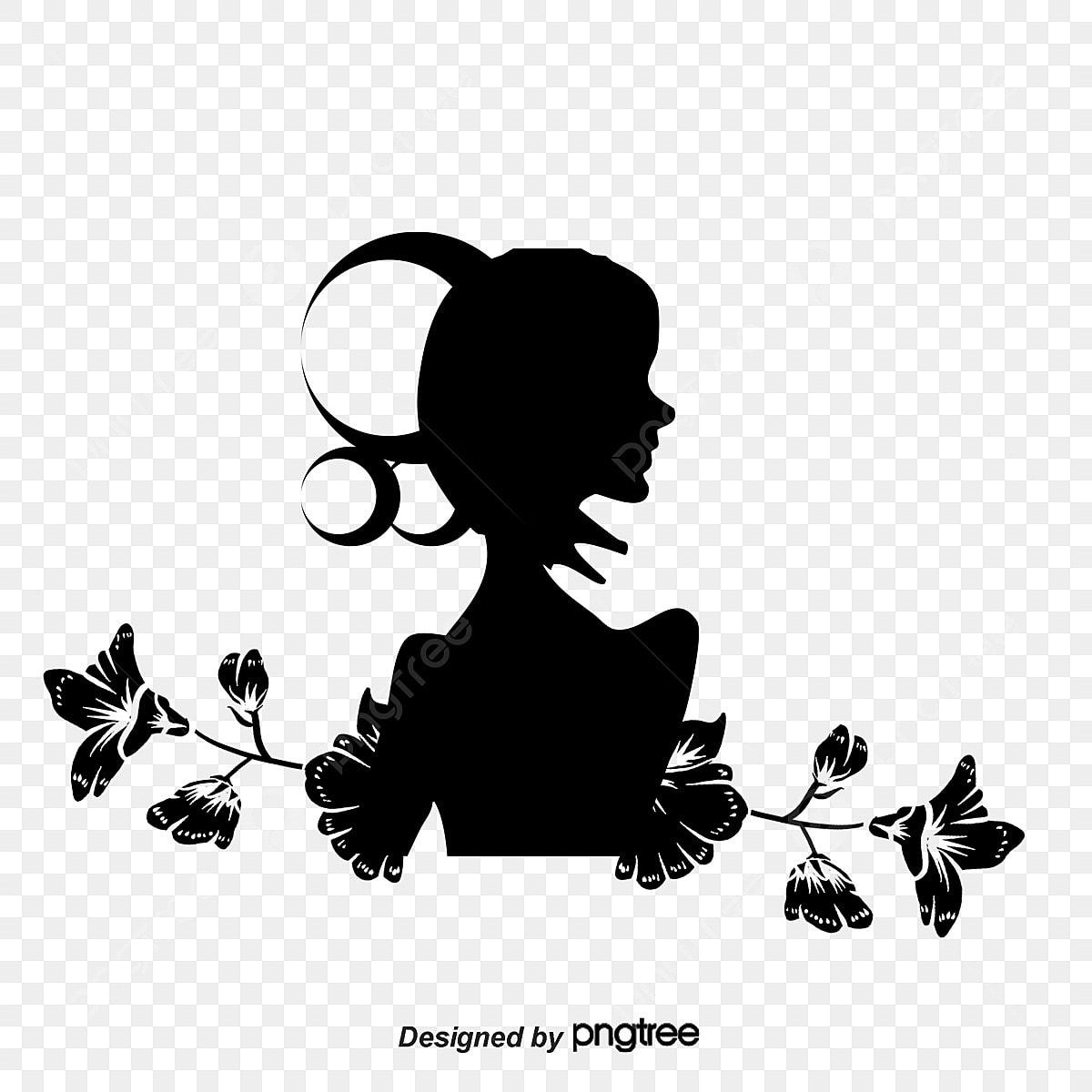 Silhueta De Mulher Flores A Silhueta A Mulher Png E Vetor Para