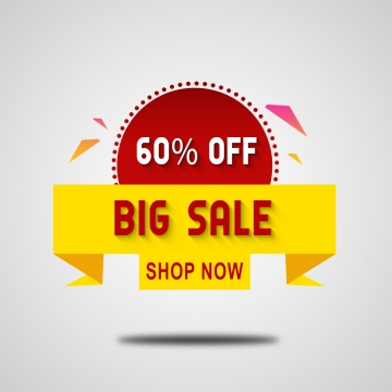 big sale 60% offer tag, Tag, Offer, Sale PNG and PSD