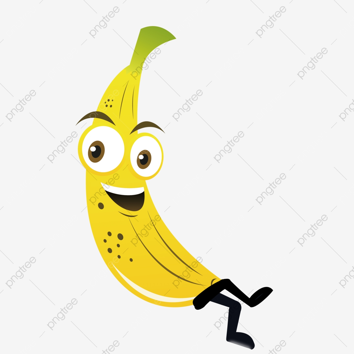 Banana smiley. Clipart cartoon png and