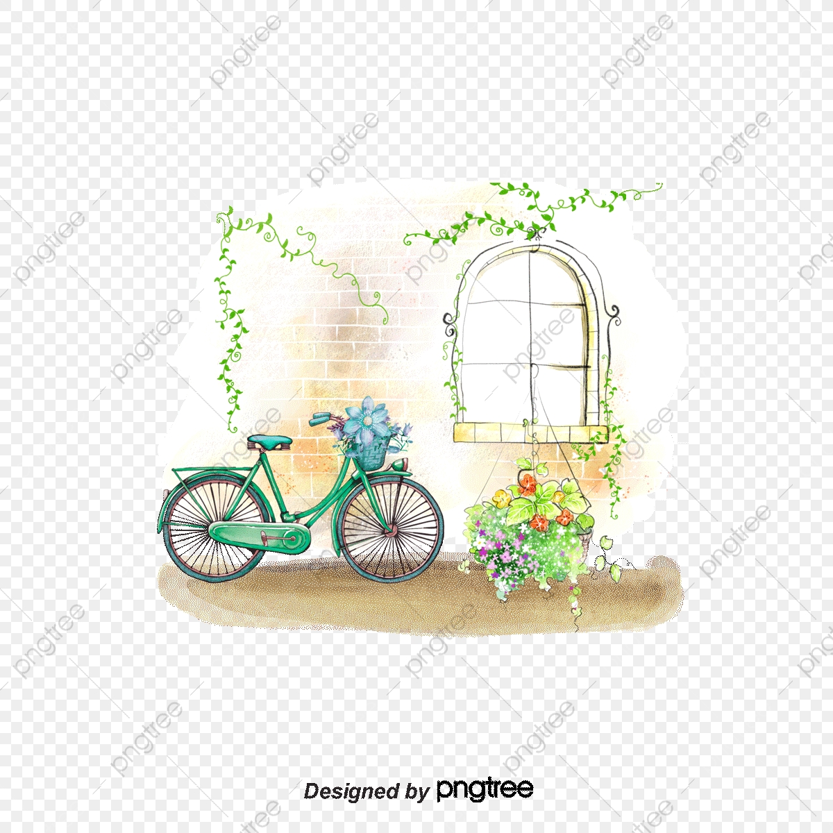 Bicicleta Y Ventanas Paisaje Acuarela Pintura De Paisaje Paisaje De Dibujos Animados Png Y Psd Para Descargar Gratis Pngtree