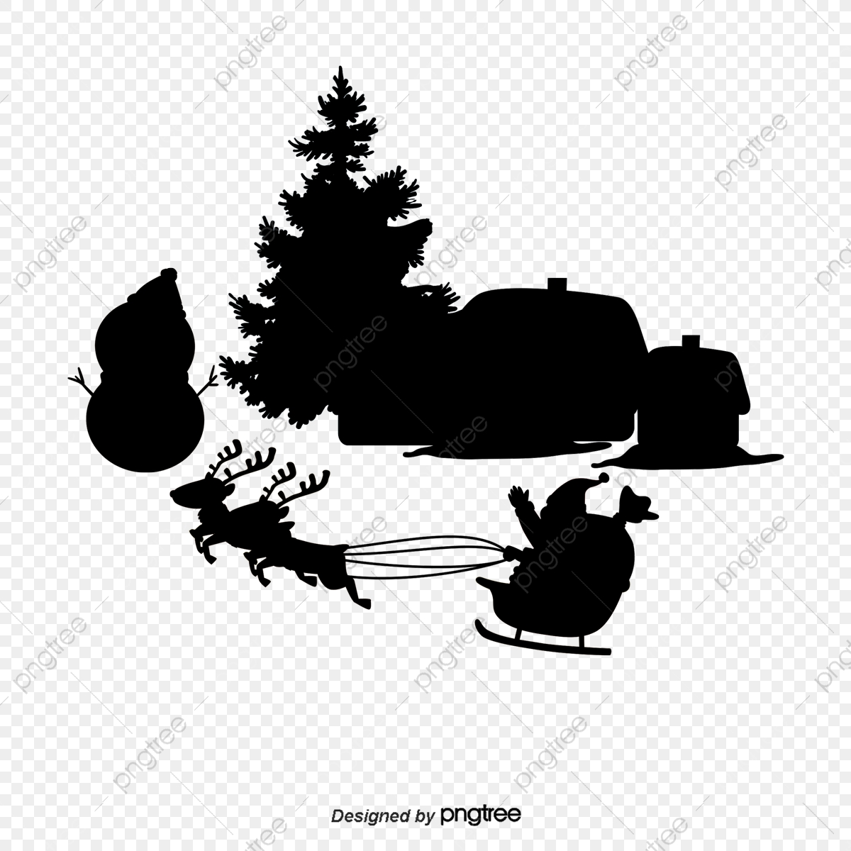 Black And White Christmas Tree Vector Material Black Vector