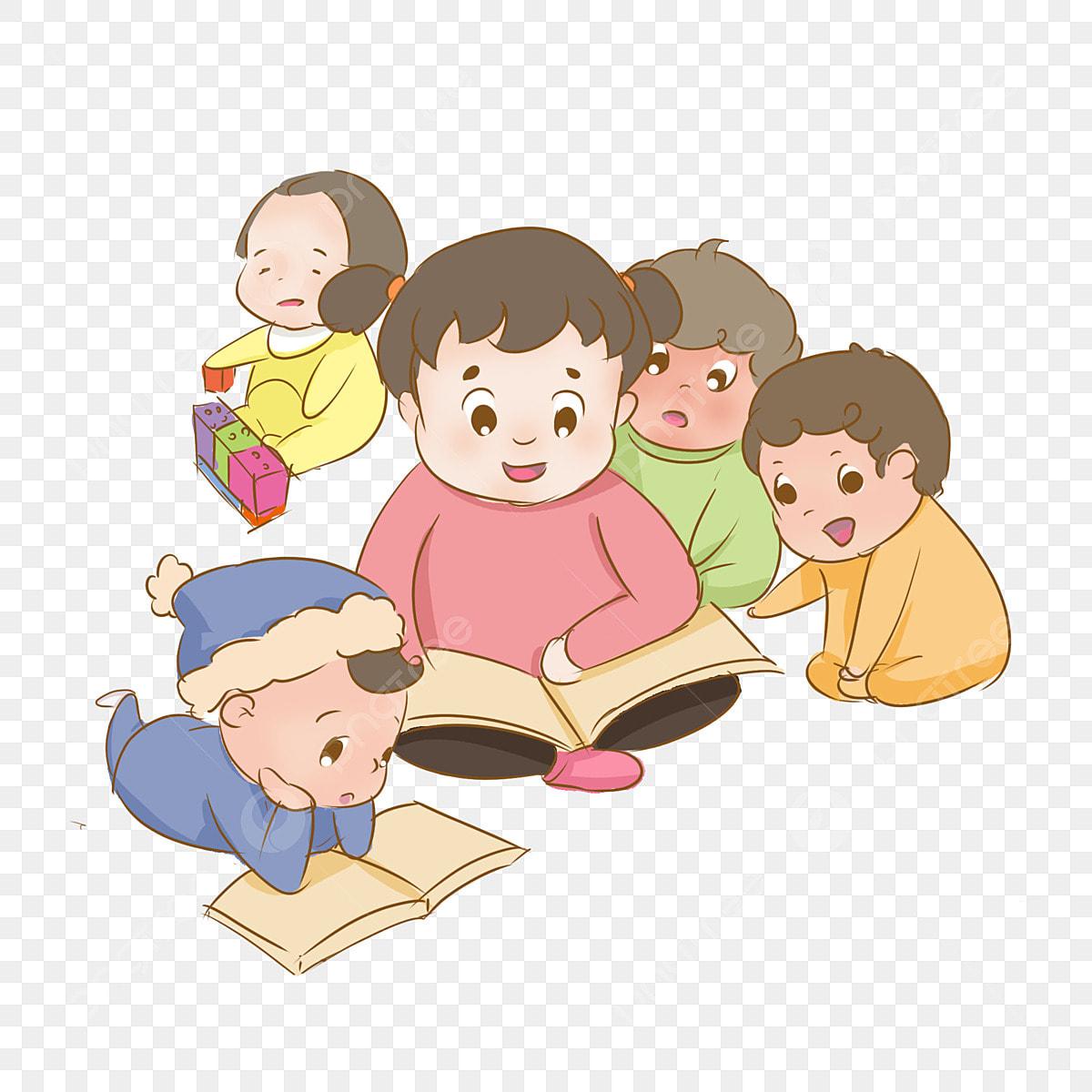 Desenhos De Criancas Lendo Livro Verde Menino E Menina Arquivo