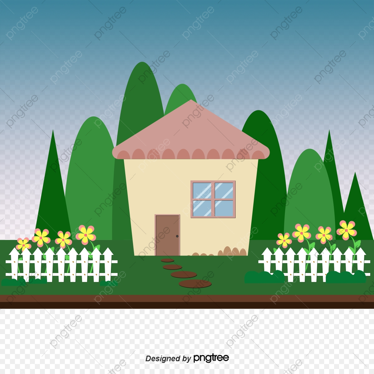 Cartoon House With A Garden Vector Material Downloaded