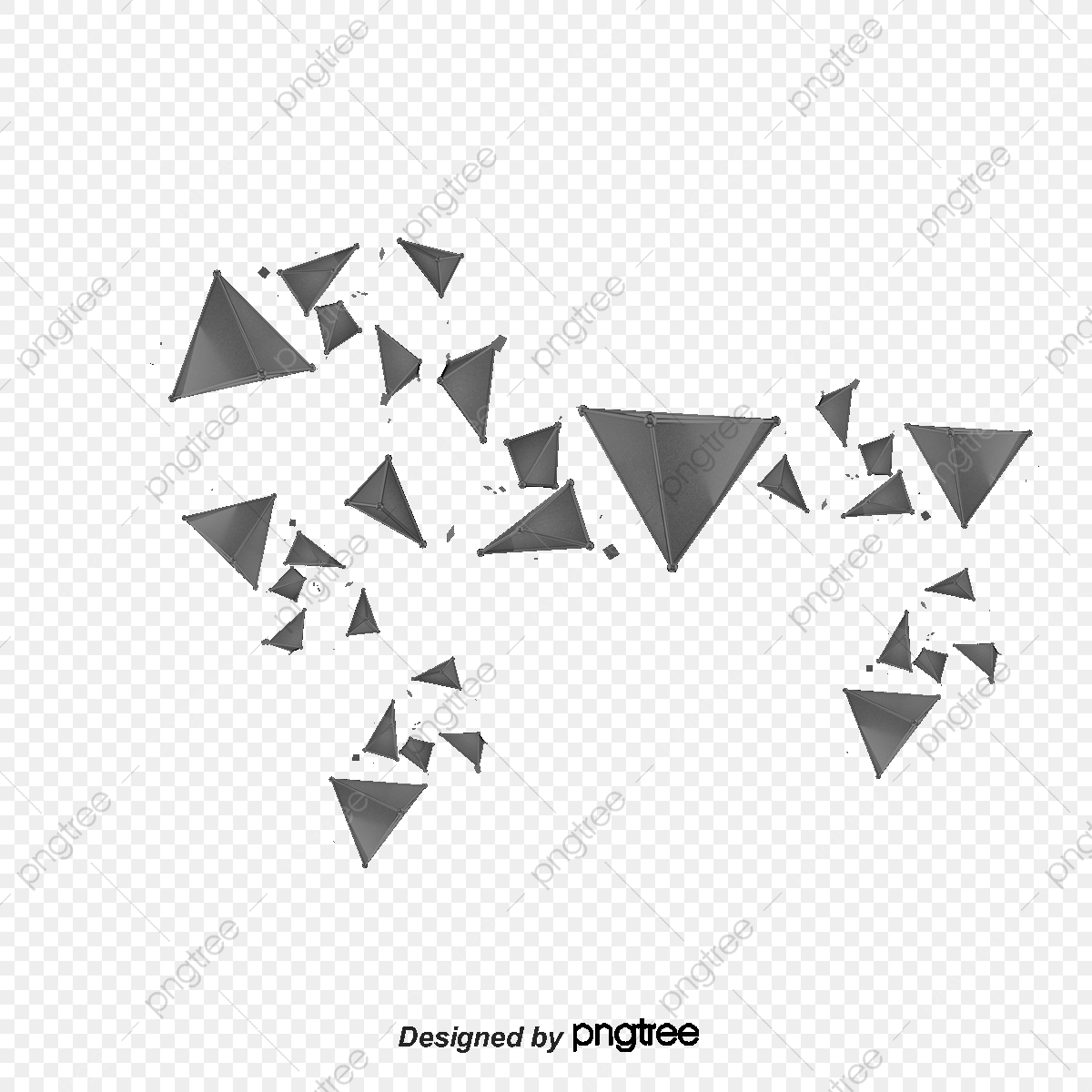 Cool Geometric Black Triangle Pieces, Geometric Vector