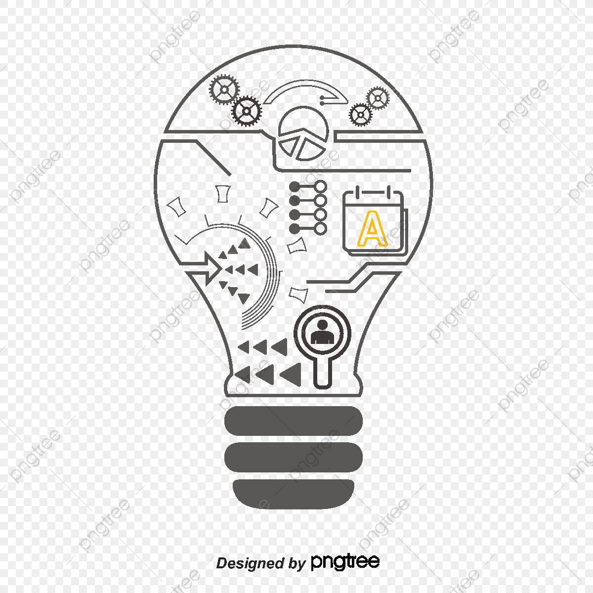 creative idea icon  icon vector  letter  gear png and vector with transparent background for