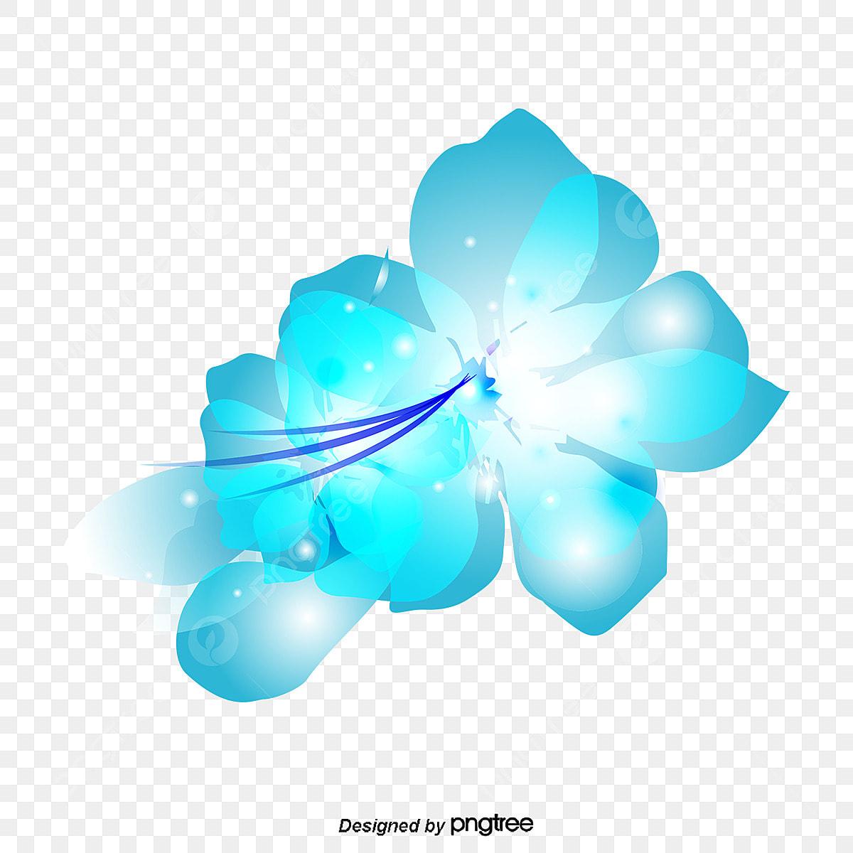 Fantasi Bunga Biru Bunga Bunga Fantasi Biru Png Dan Vektor