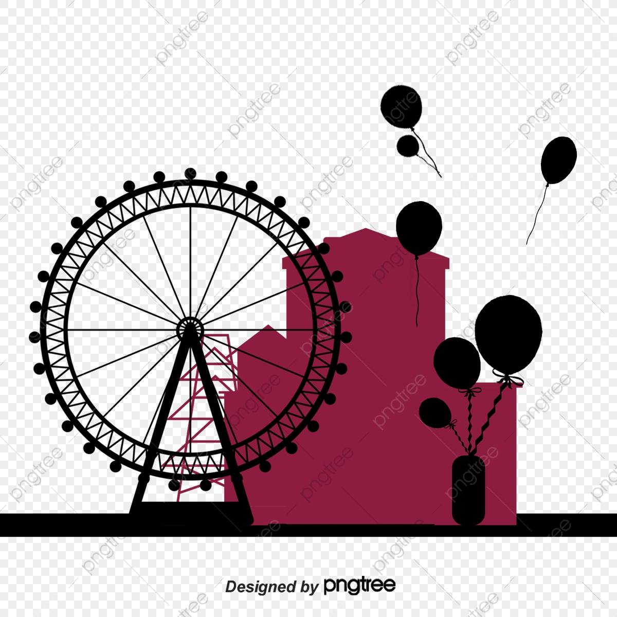 Ferris Wheel Silhouette Wheel Vector Silhouette Vector Ferris Wheel Png Transparent Clipart Image And Psd File For Free Download
