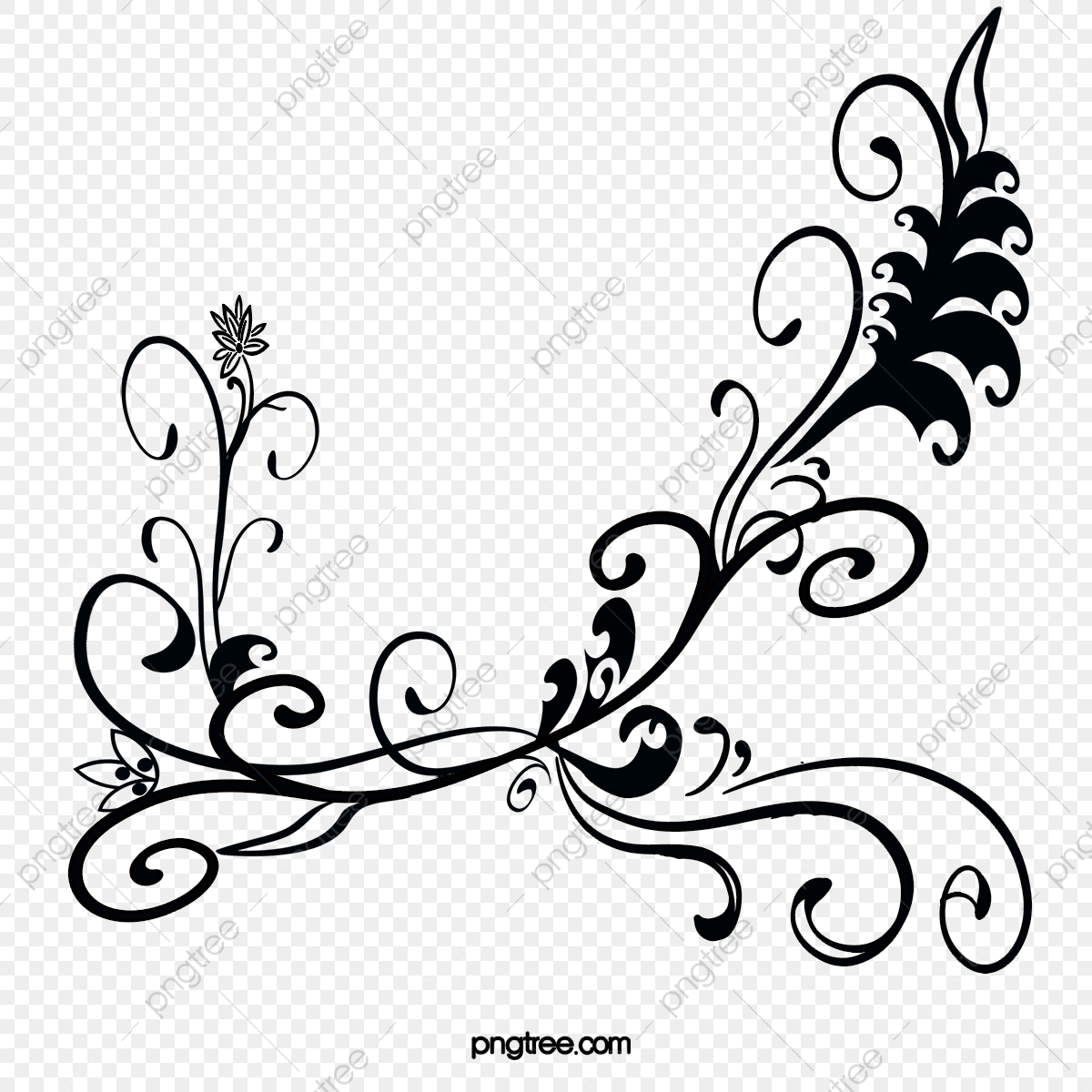 Floral Patterns Black Decoration Png Transparent Clipart Image