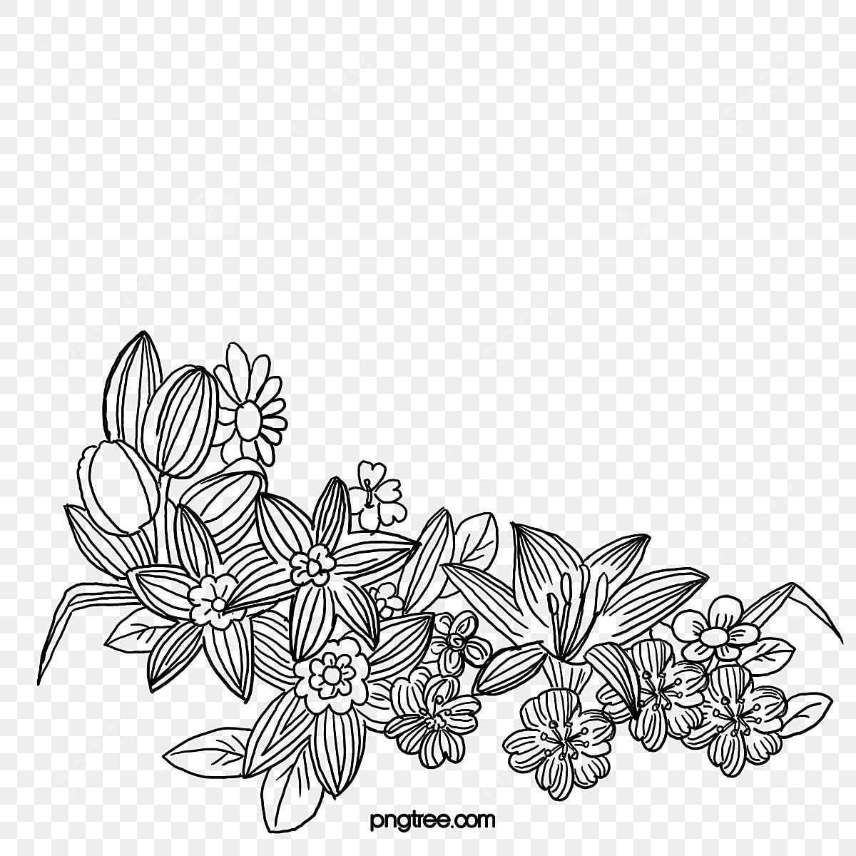 Fleur Fleur Noir Et Blanc Peinture Chinoise Fichier Png