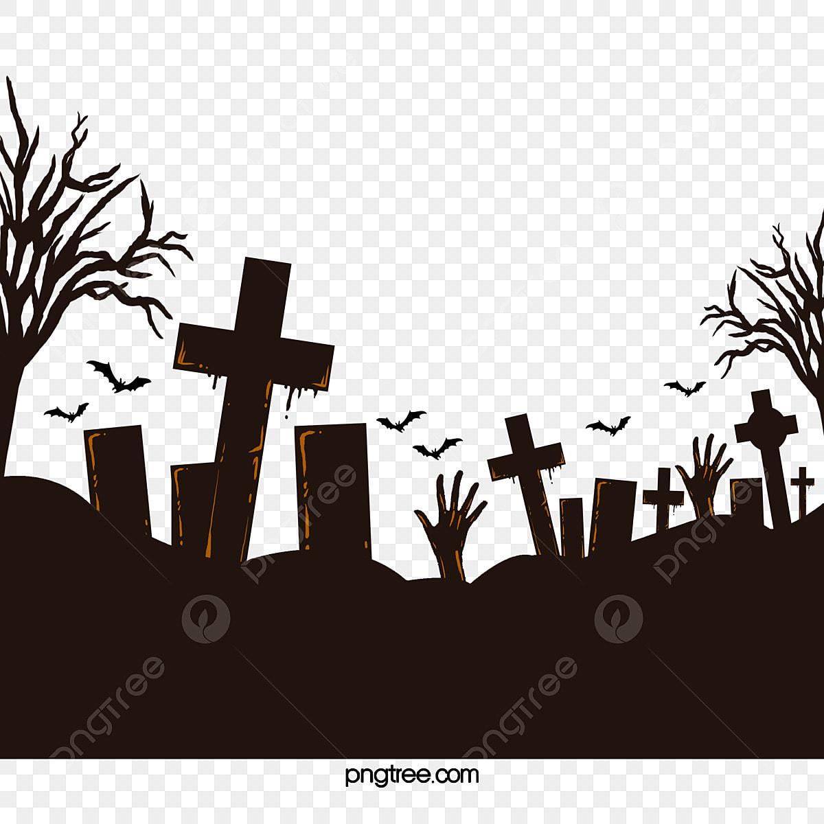 Halloween Horror Bats Decorate Graves Halloween Vector