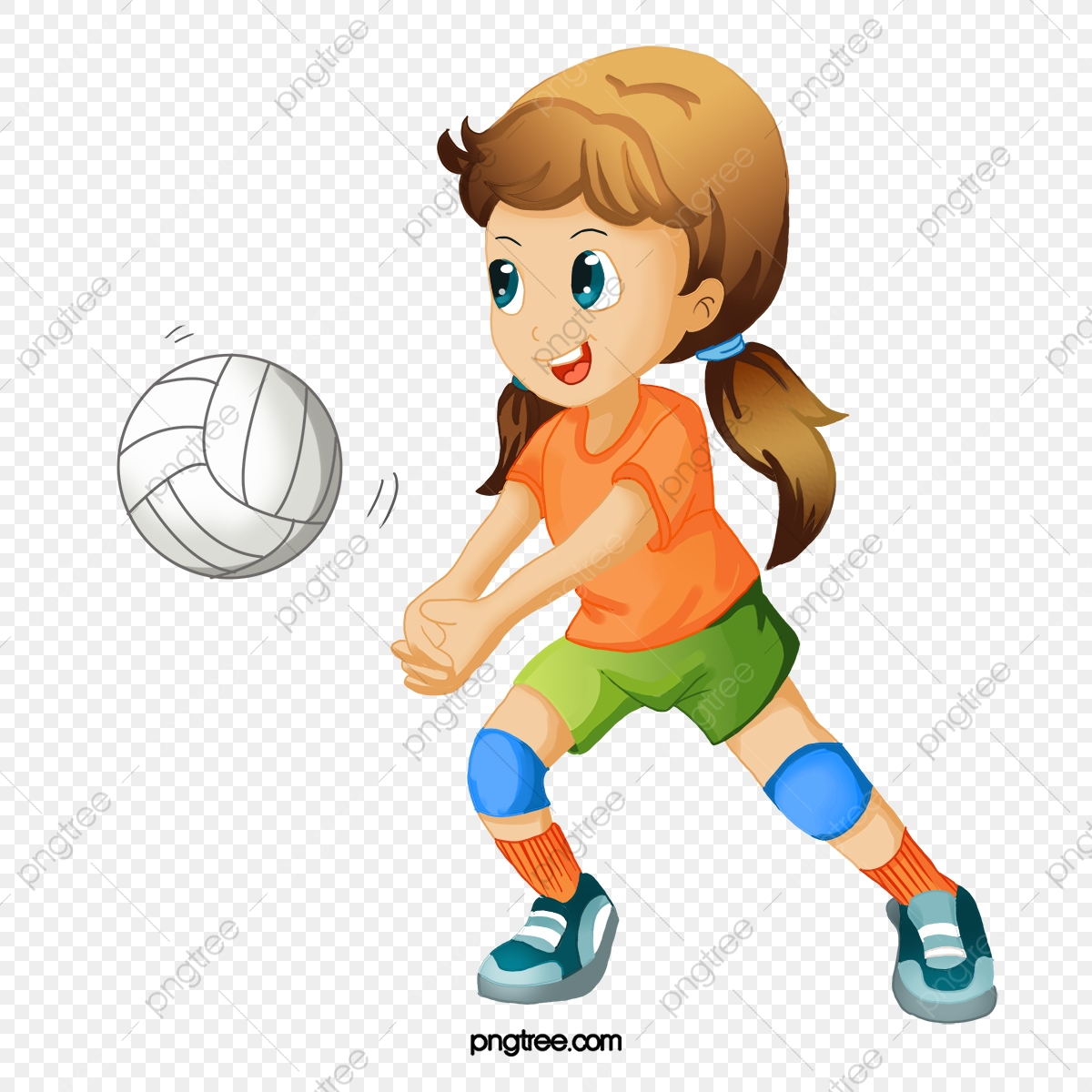 Volleyball playing. Hand painted cartoon players