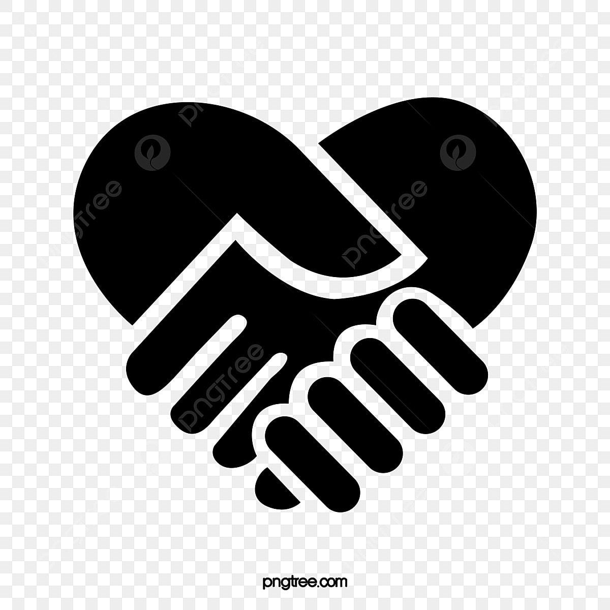 berjabat tangan cinta hitam hati berbentuk jabat tangan