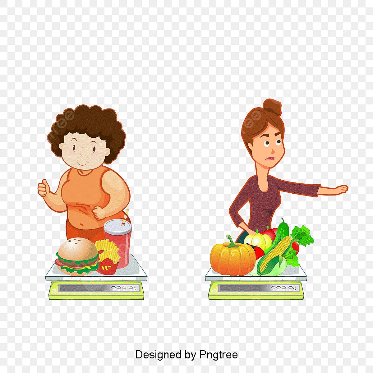 Junk Food And Healthy Food Compare, Cartoon, Ae, Vector
