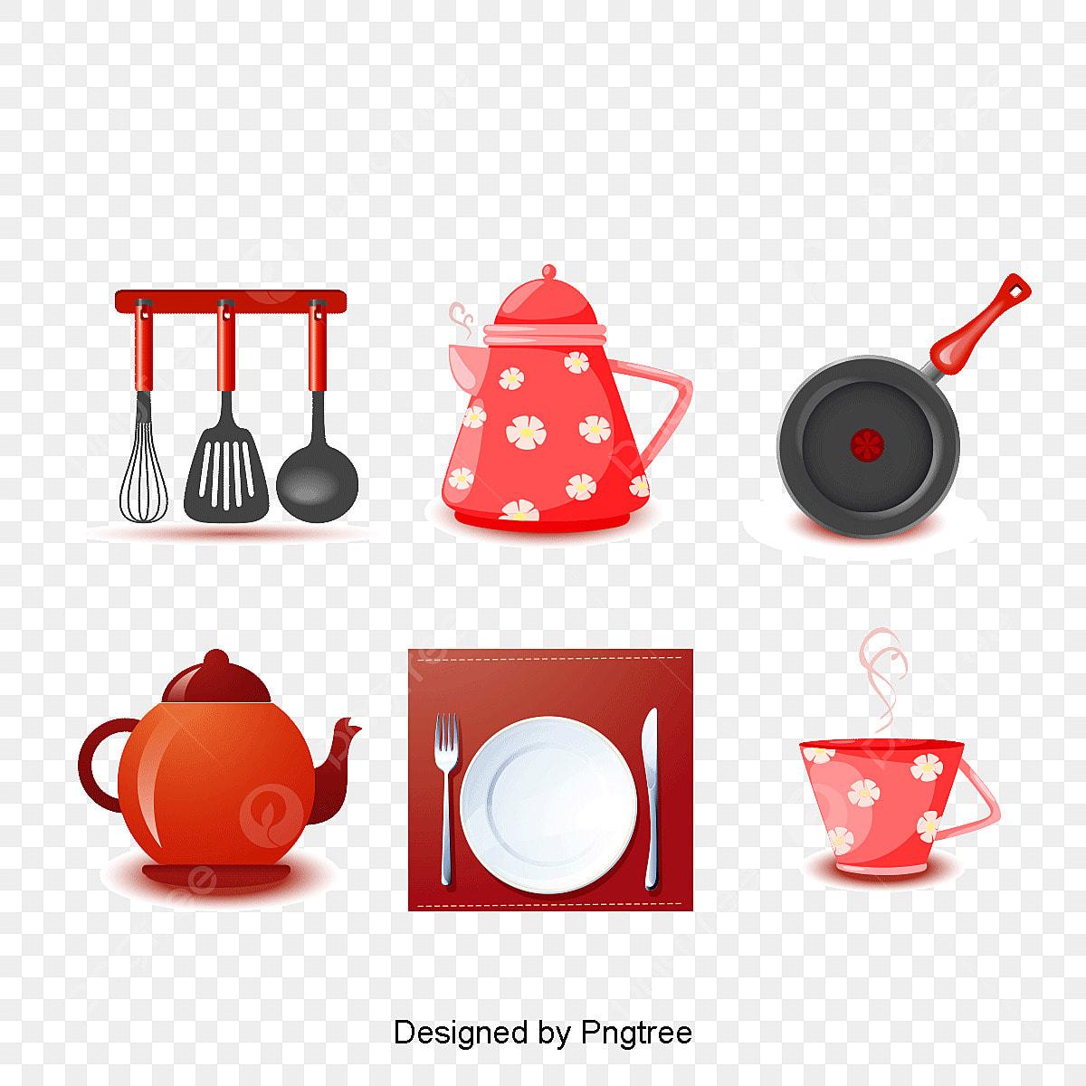 Precioso Diseño De Utensilios De Cocina Te Vector Material ...