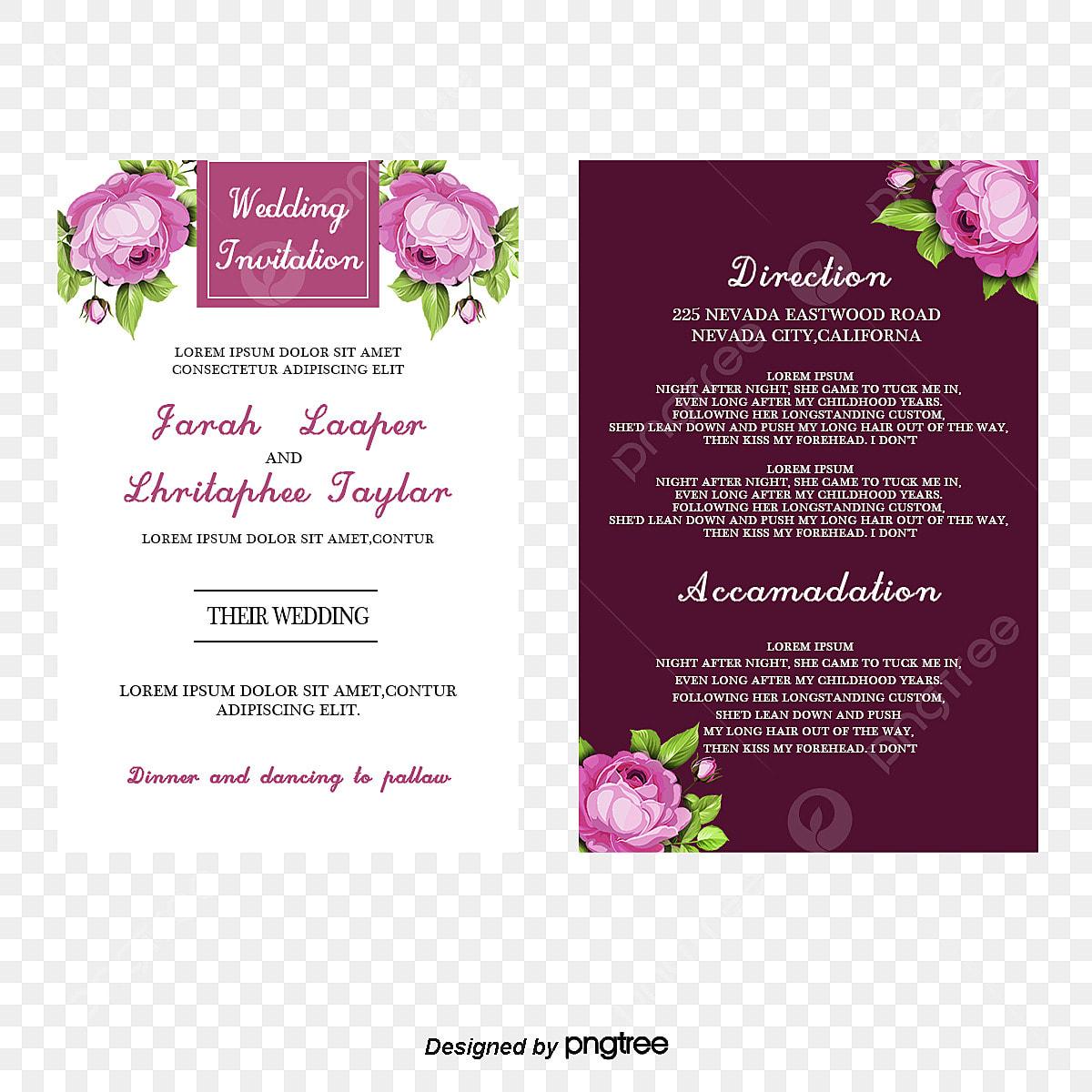 Purple Flowers Vector Invitation Card Purple Flowers