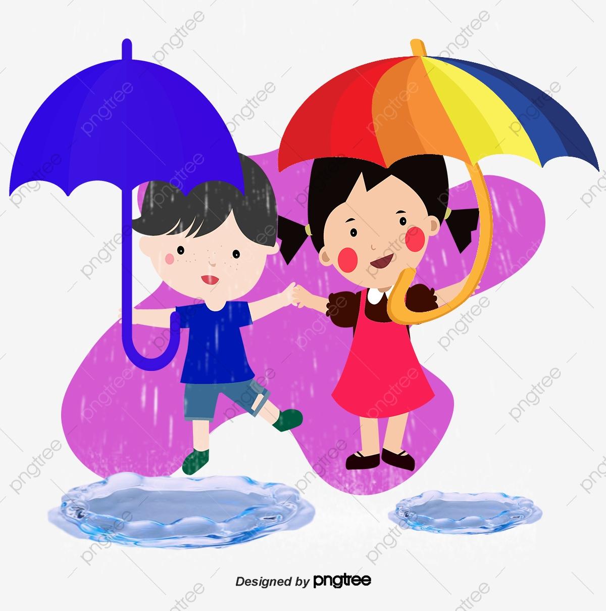 مظلة المطر كارتون الأطفال قصاصات فنية من الأطفال ناقلات المطر ناقلات مظلة Png وملف Psd للتحميل مجانا