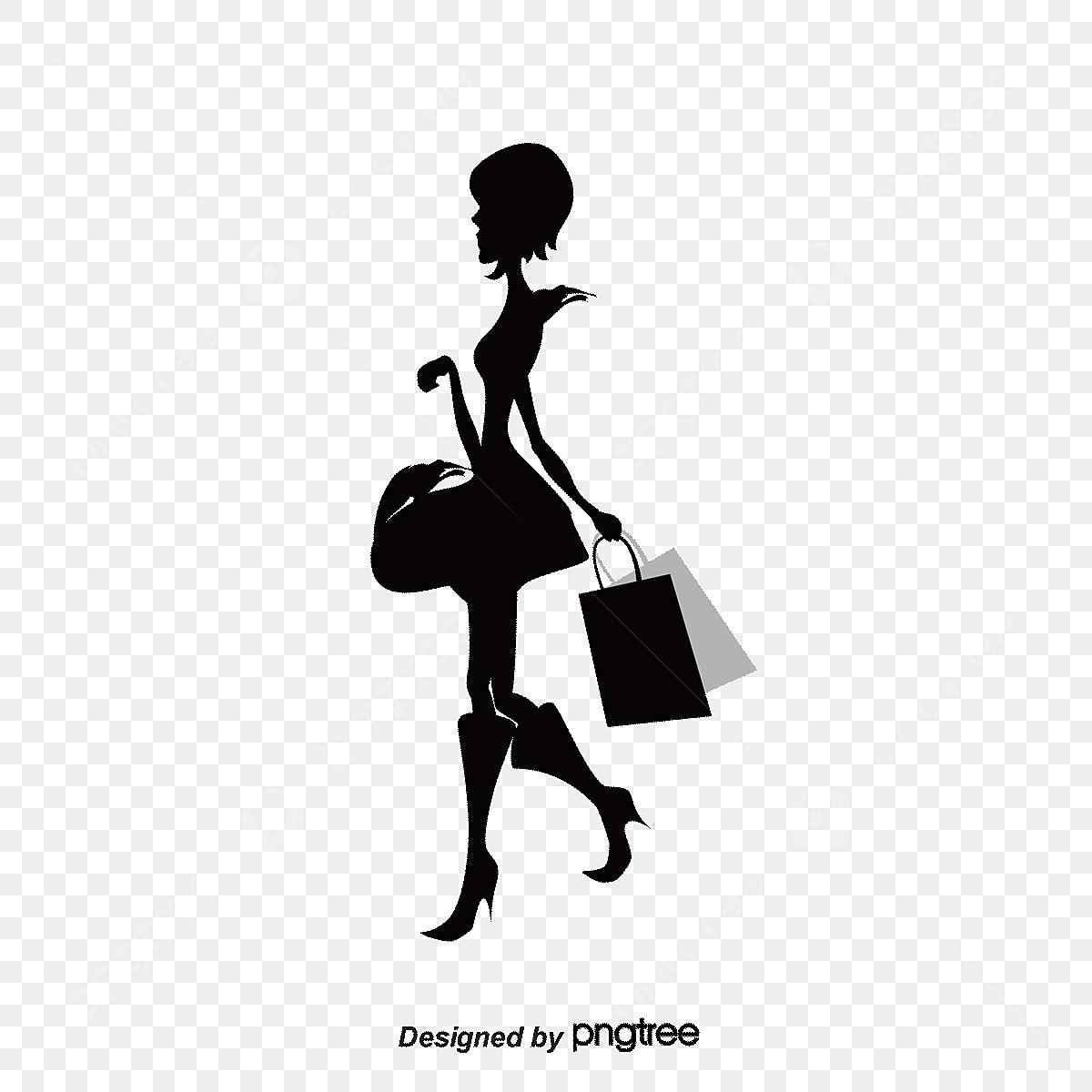 Shopping Woman Fashion Silhouette Sketch, Shopping Vector ...