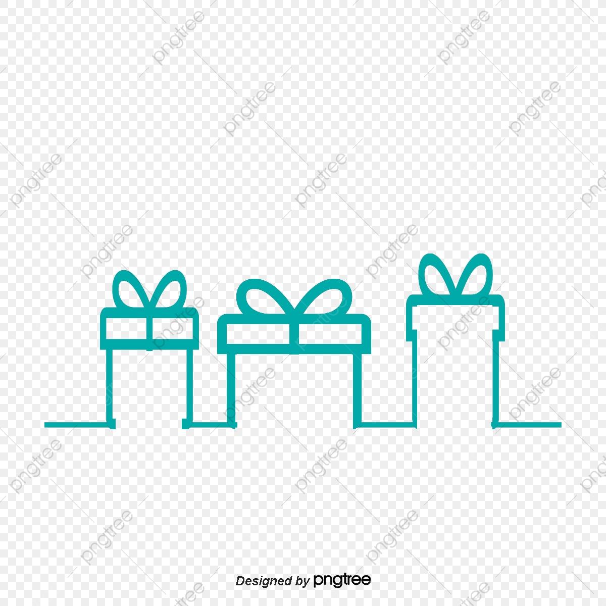 Single Line Gift Box Decoration, Mint Green, Based Line