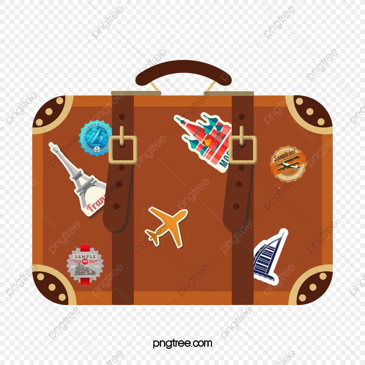 Suitcase Hand Painted Cartoon Png And Vector With Transparent