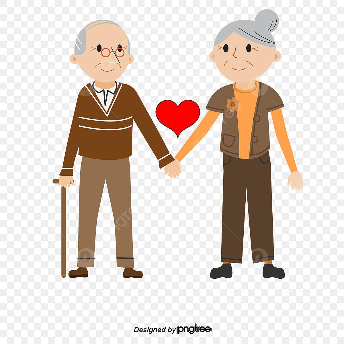 Dessin Dun Vieux Couple De Vecteur Grand Père La Vieille