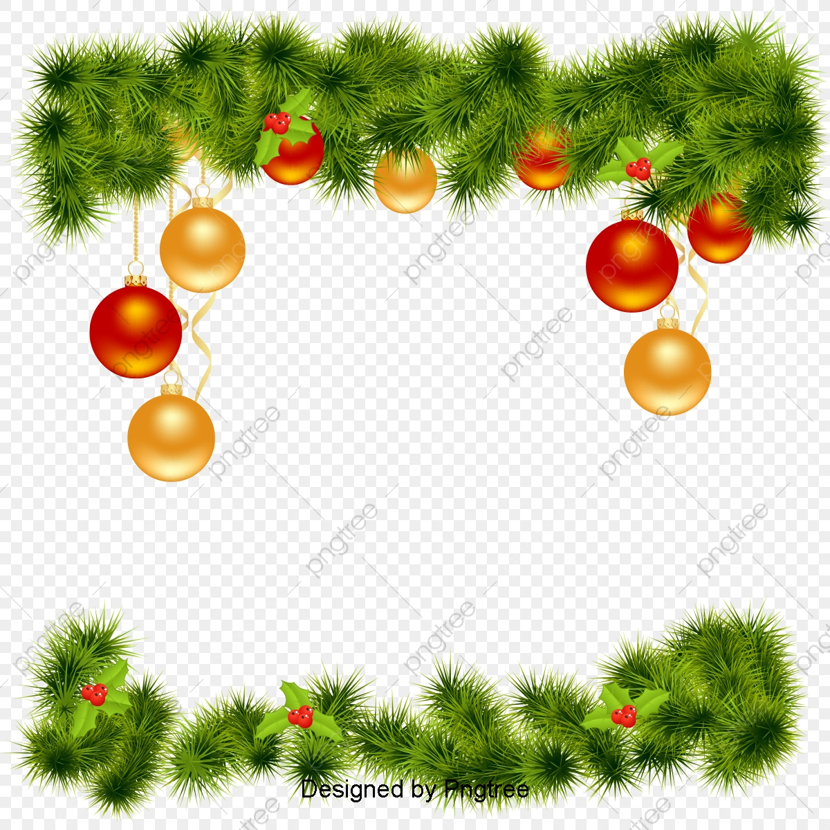 Vector Christmas Border, Pine, Flower, Christmas Elements