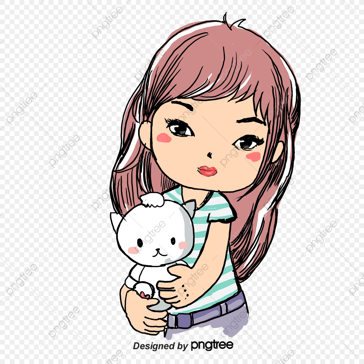 Vector Girl Holding A Kitten, Character, Cartoon Characters, Vector
