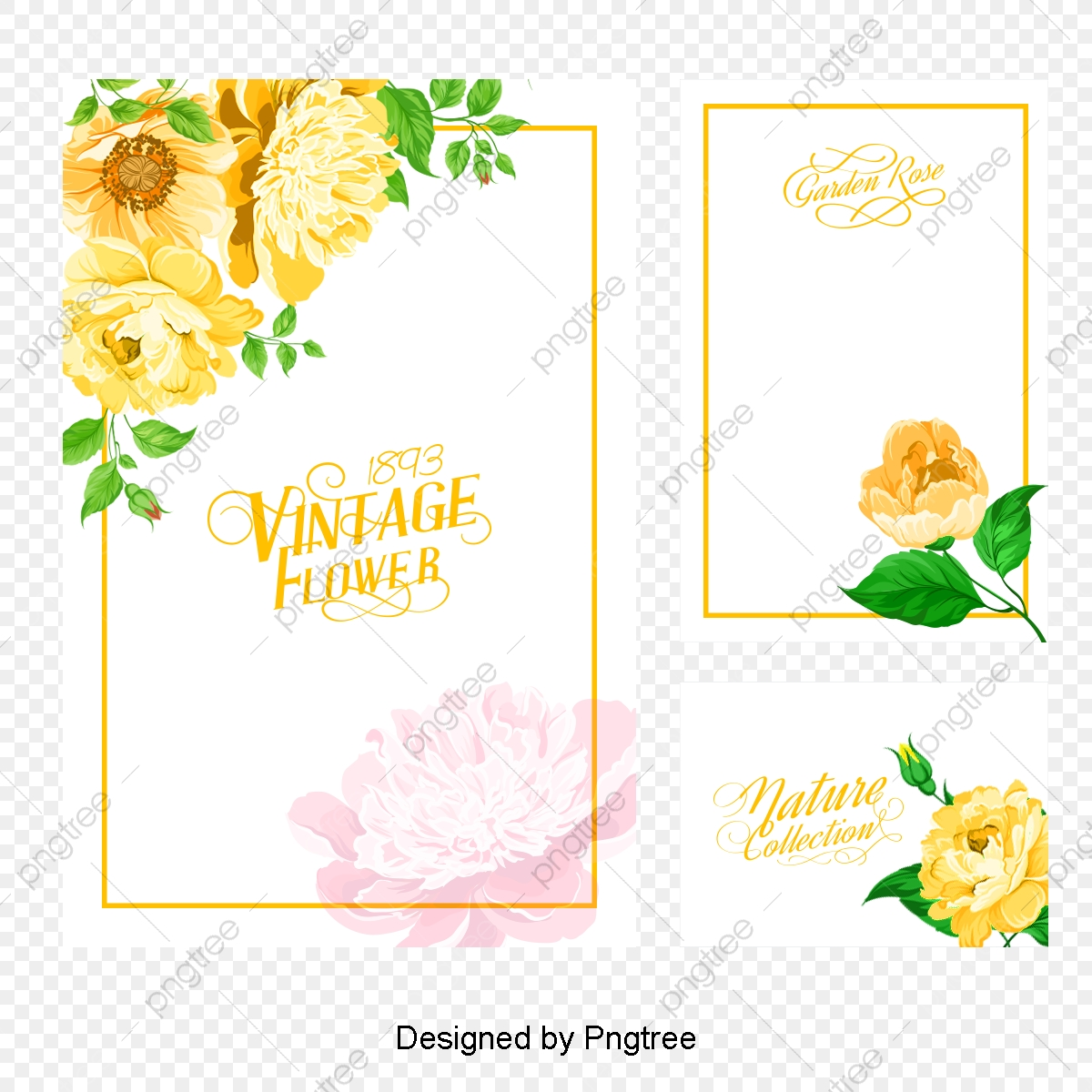 Vector Invitation Card Watercolor Flowers Invitation Card