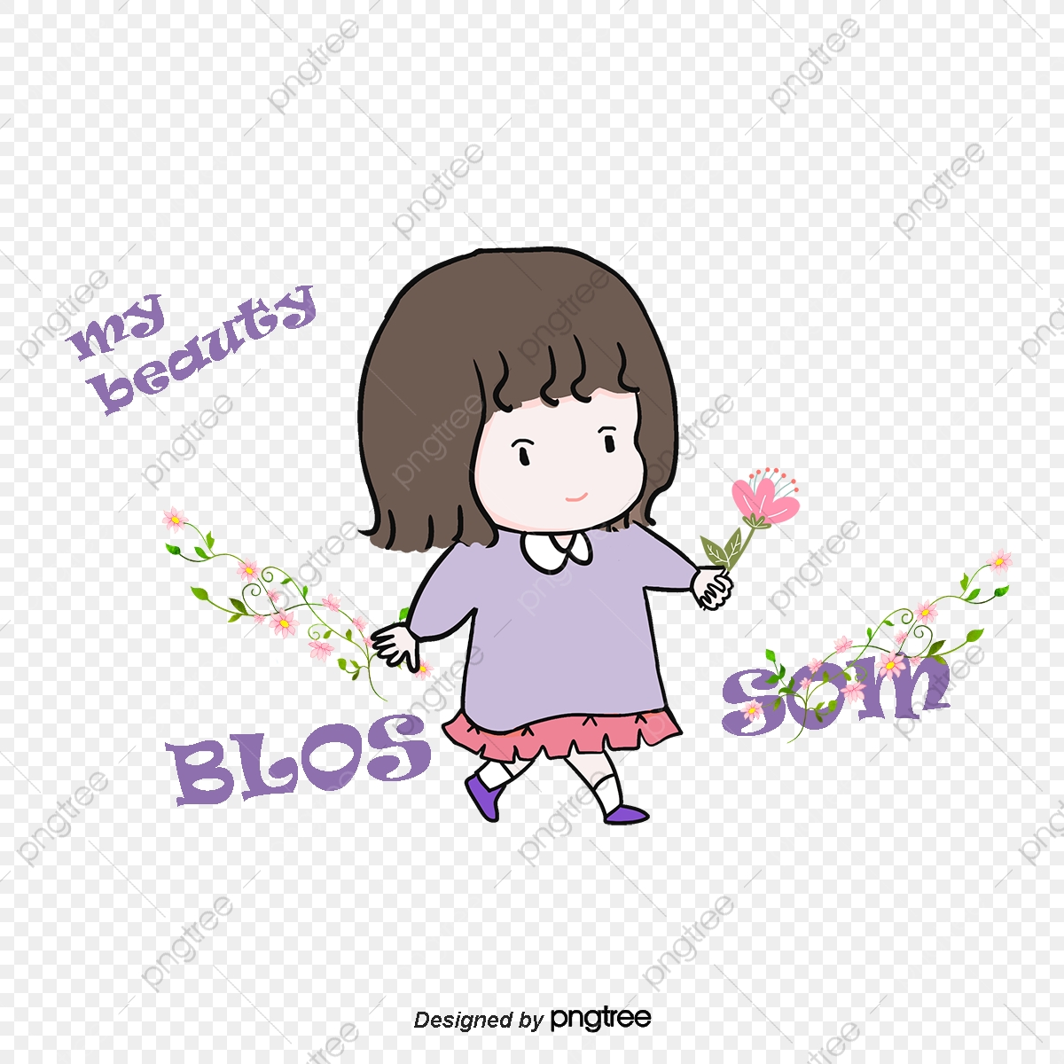 Vector Stylish Little Girl, Girl Vector, Character, Cartoon